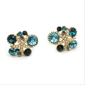 Fashion blue starfish crystal earrings